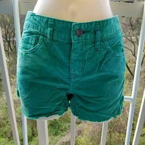 Free People Green Corduroy Distressed Shorts W26